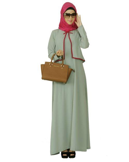Sage Green Caped Abaya