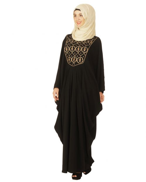 Black Kaftan with Zari Embroidery