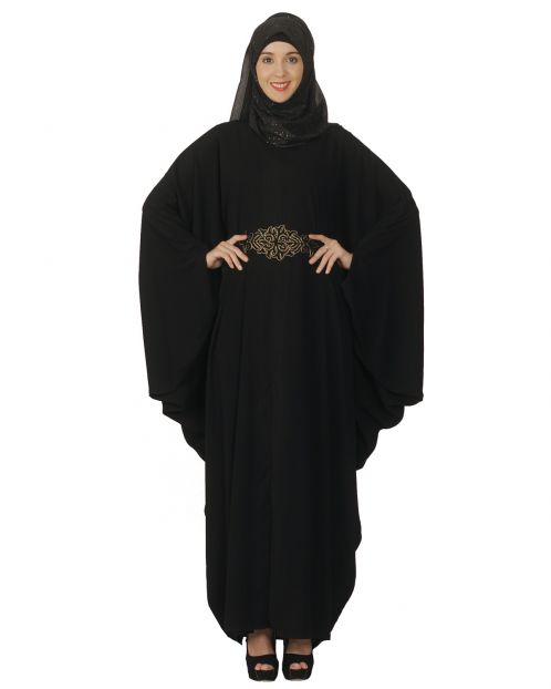 Black Kaftan with Embroidered Belt