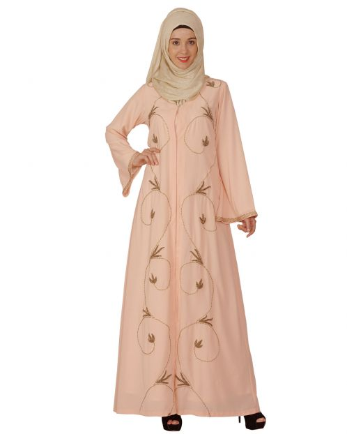 Peach Abaya with Zari Dori Work