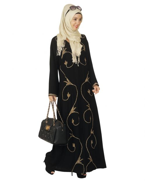 Black Abaya with Zari Dori Work