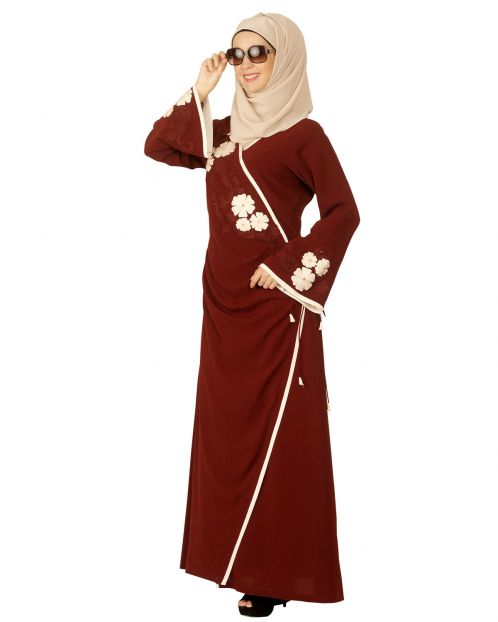 Floral Embroidered Open Abaya
