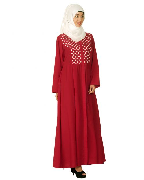 Red Hand Crafted Checkered Yoke Abaya