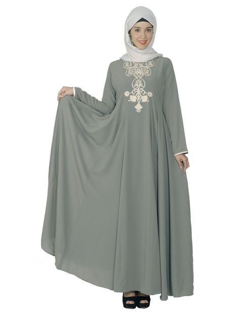 Grey Flared Abaya