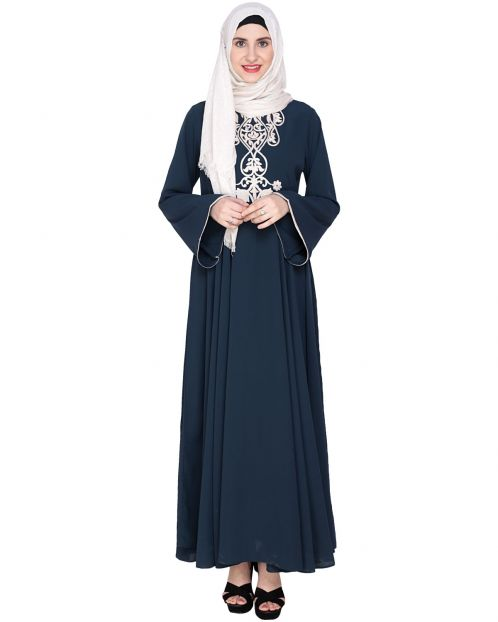 Blue Flared Abaya