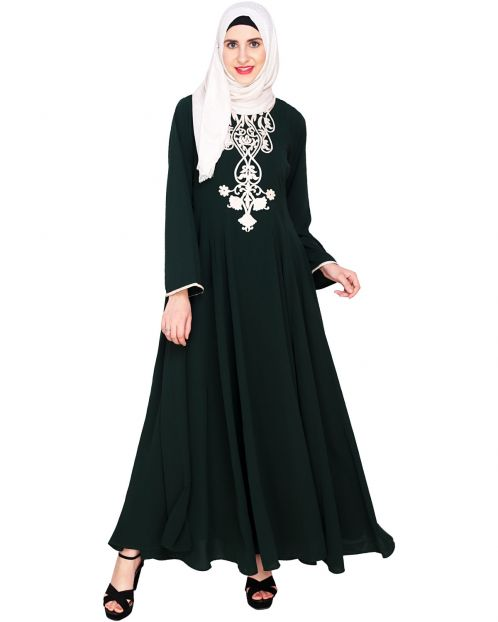 Green Flared Abaya