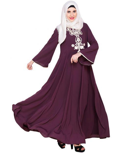 Purple Flared Abaya