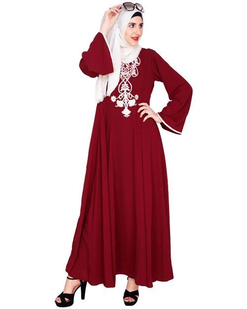 Wine Flared Abaya