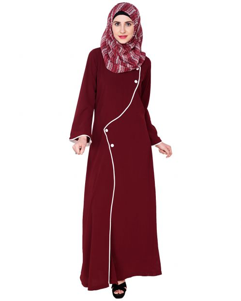 Button Up Wine Abaya