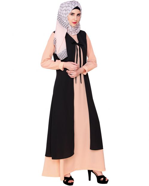 Multi Color Abaya with long Shrug