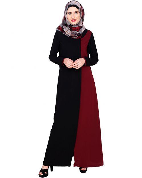 Black Abaya With Wine Panel