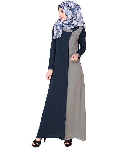 Blue Abaya With Grey Panel