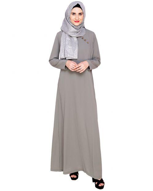 Grey Trendy Abaya Dress