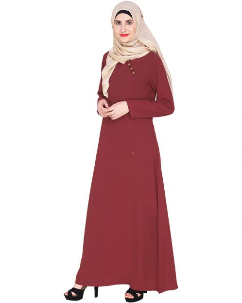 Wine Trendy Abaya Dress