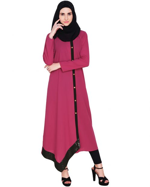 Fuchsia Button-down Abaya
