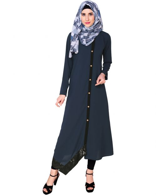 Blue Button-down Abaya