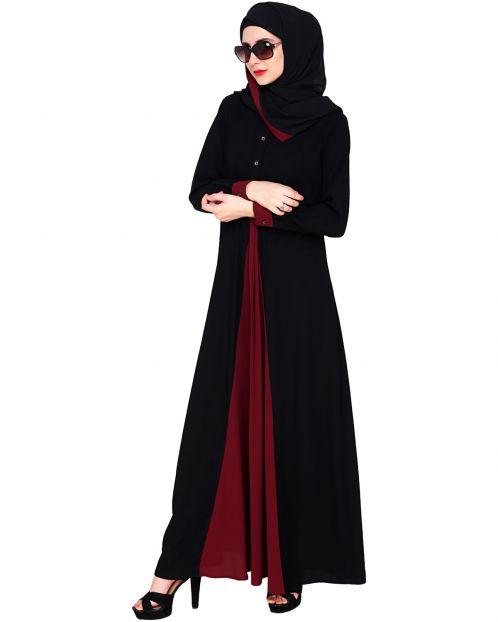 Pretty Wine Layered Abaya
