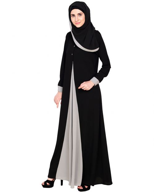 Pretty Grey Layered Abaya