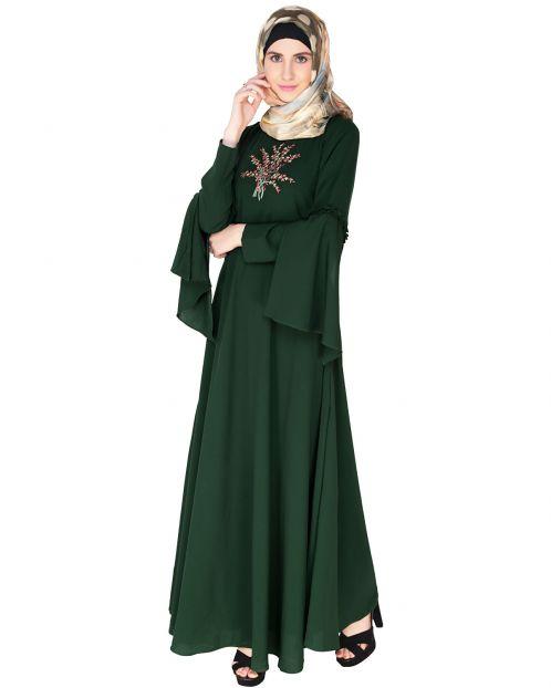 Dark Green Crew Collar Abaya