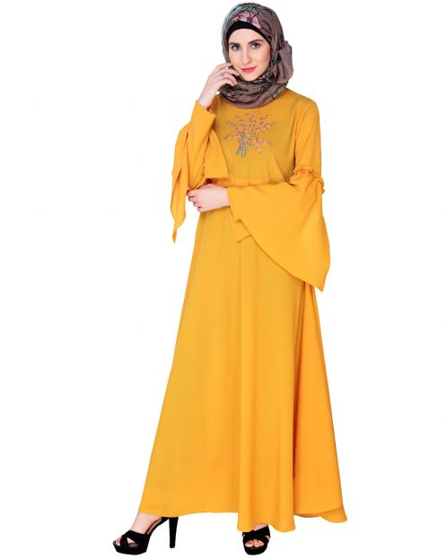 Yellow Crew Collar Abaya