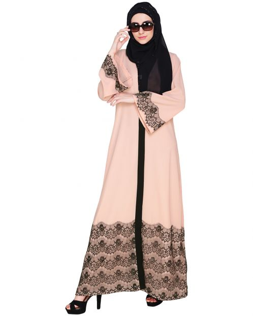 Pink And Black Laced Abaya