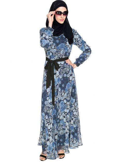 Midnight Bliss Blue Floral Maxi Dress