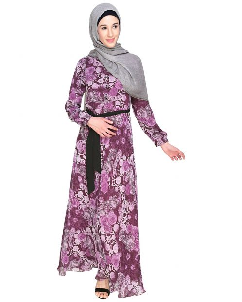 Midnight Bliss Purple Floral Maxi Dress