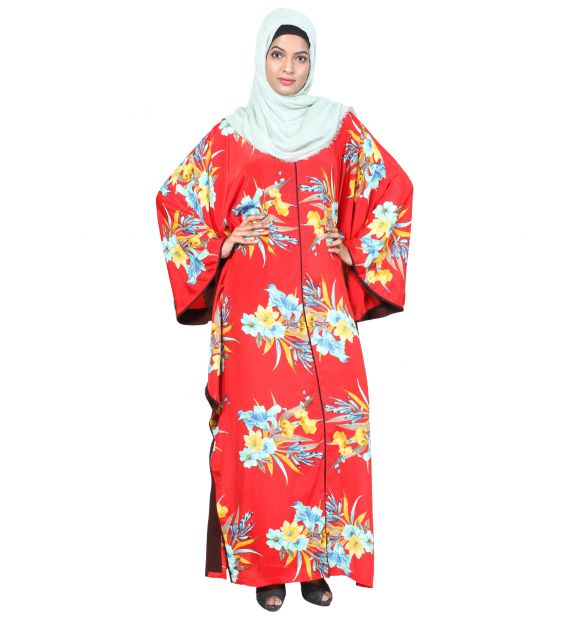 Tropical Red Floral Kaftan