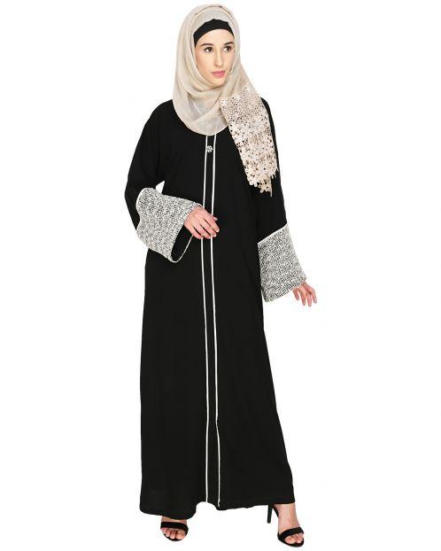 Elegant Crochet Lace Dubai Style Abaya