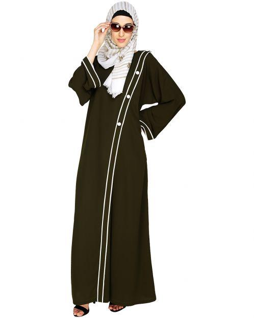 Intrigue Angrakha  Dubai Style Olive Abaya