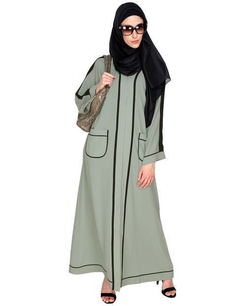Pocket Dubai Style Abaya with Black detailing
