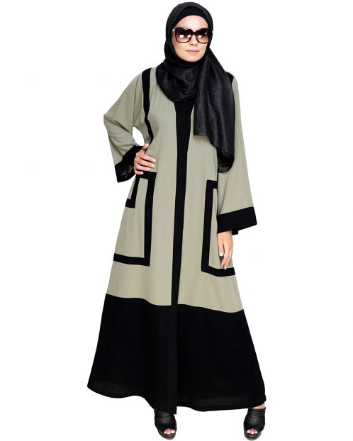 Quirky Dubai Style Mint Abaya with detailing