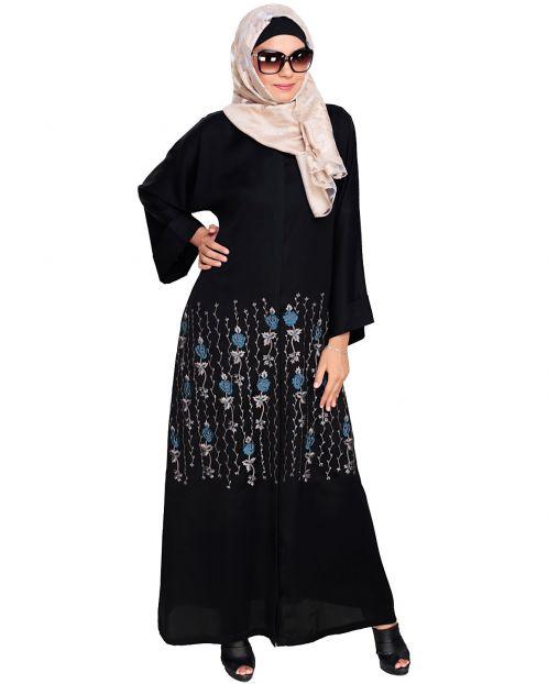 Orchid  Dubai Style Black Abaya