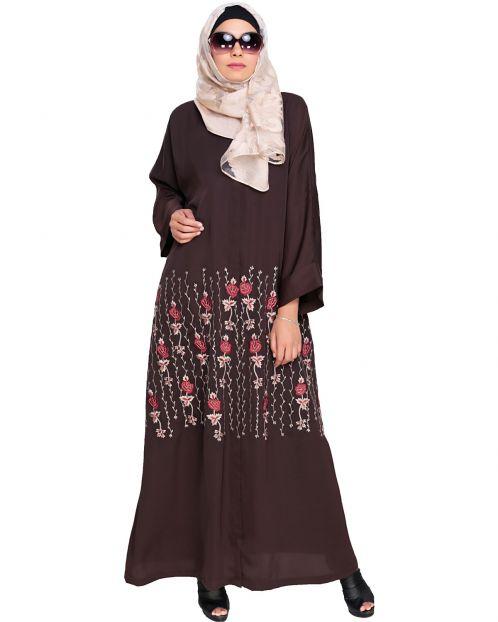 Orchid  Dubai Style Dark Brown Abaya