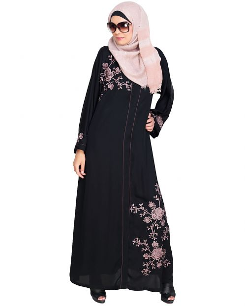 Botanical Black Embroidered Dubai Style Abaya