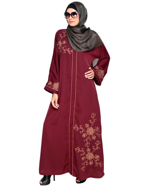 Botanical Wine Embroidered Dubai Style Abaya
