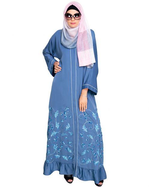 Magnificent Blue Gathers Embroidered  Dubai Style Abaya