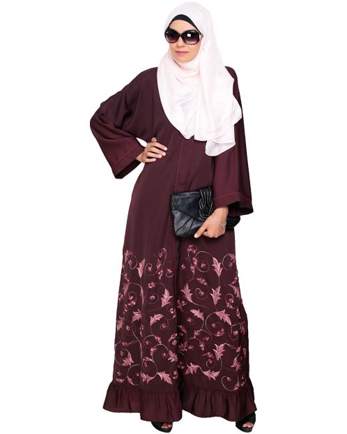 Magnificent Deep Wine Gathers Embroidered Dubai Style Abaya