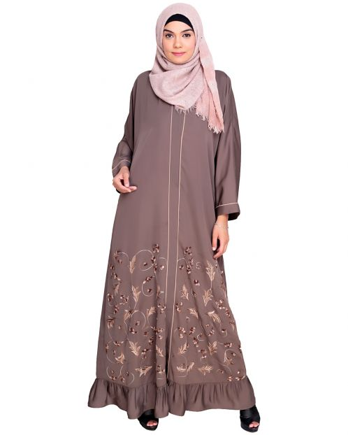 Magnificent Grey Gathers Embroidered  Dubai Style  Abaya