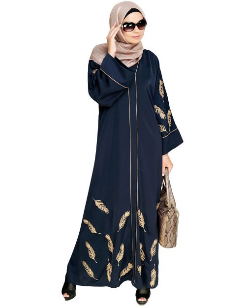 Feather Embroidered Dubai Style Blue Abaya