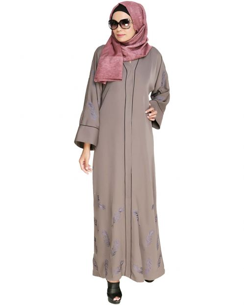 Feather Embroidered Dubai Style Light brown Abaya