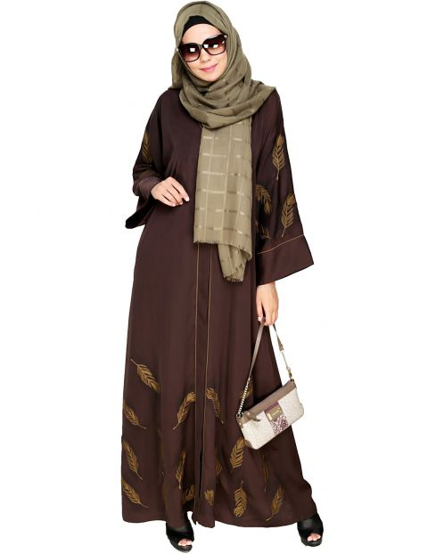 Feather Embroidered Dubai Style Dark brown Abaya