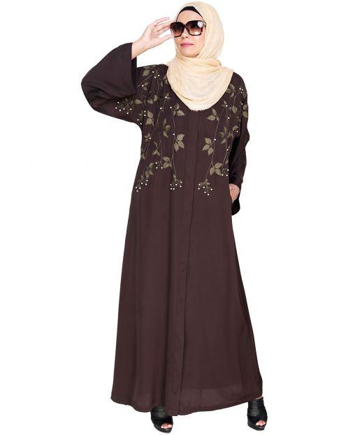 Pearl and Flora Embroidered Dubai Style Dark Brown Abaya