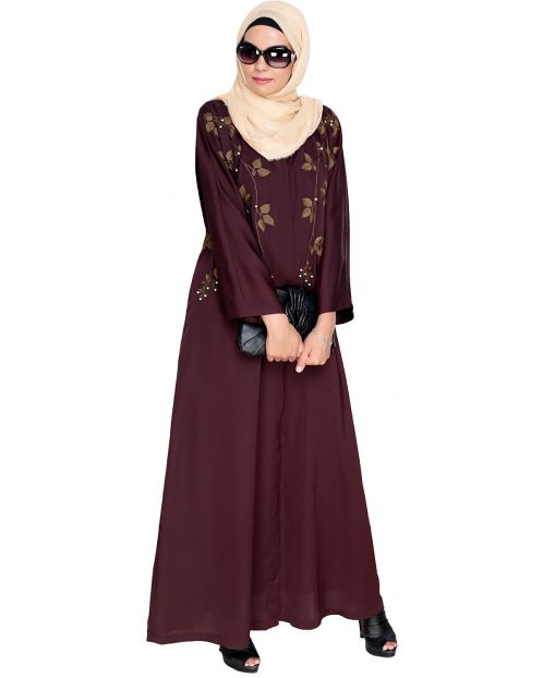 Pearl and Flora Embroidered Dubai Style Deep Wine Abaya