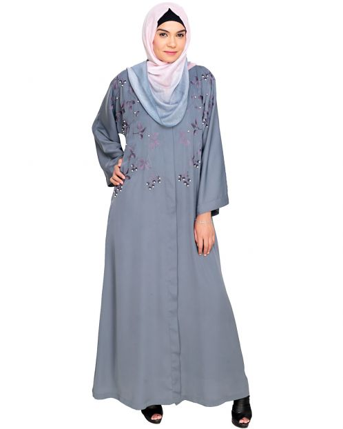 Pearl and Flora Embroidered Dubai Style Grey Abaya
