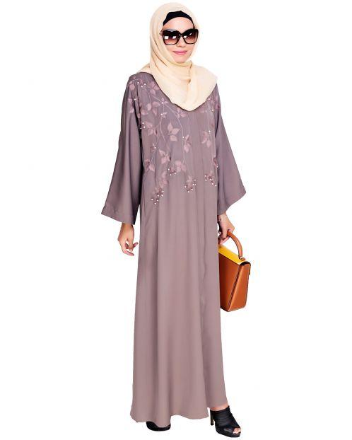Pearl and Flora Embroidered Dubai Style Mud brown Abaya