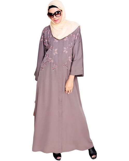 Pearl and Flora Embroidered Dubai Style Mud brown Abaya