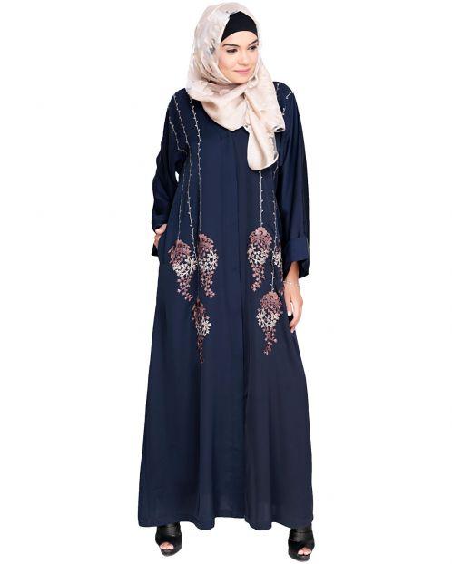 Floral Pendant Dubai Style Blue Abaya