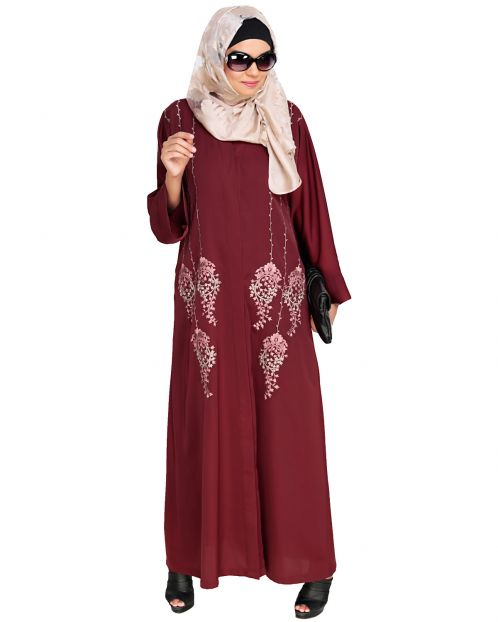 Floral Pendant Dubai Style Wine Abaya