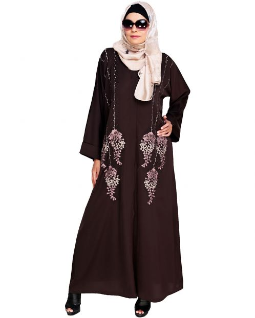 Floral Pendant Dubai Style Brown Abaya